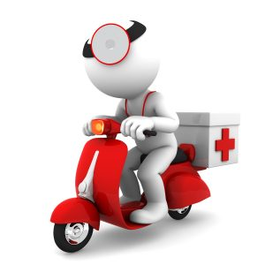 icon of medic on scooter